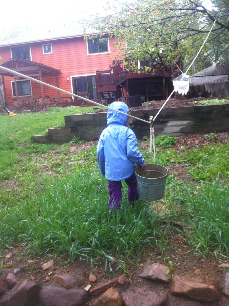 Nyla pulling a galvanized bucket through the rain, draped from a pulley and a rope tied between two trees. Purpose: play.
