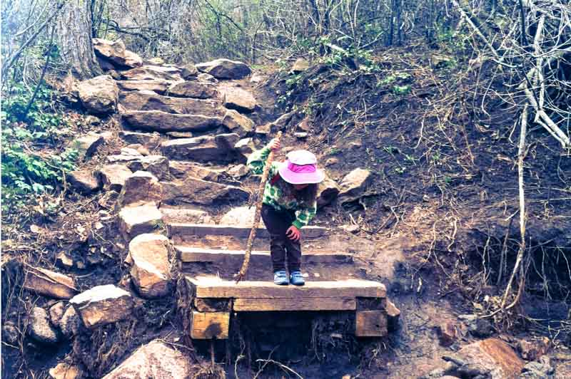 Nyla stands on a washed-out bridge, peering over a mountain stream as we await other families' arrival.